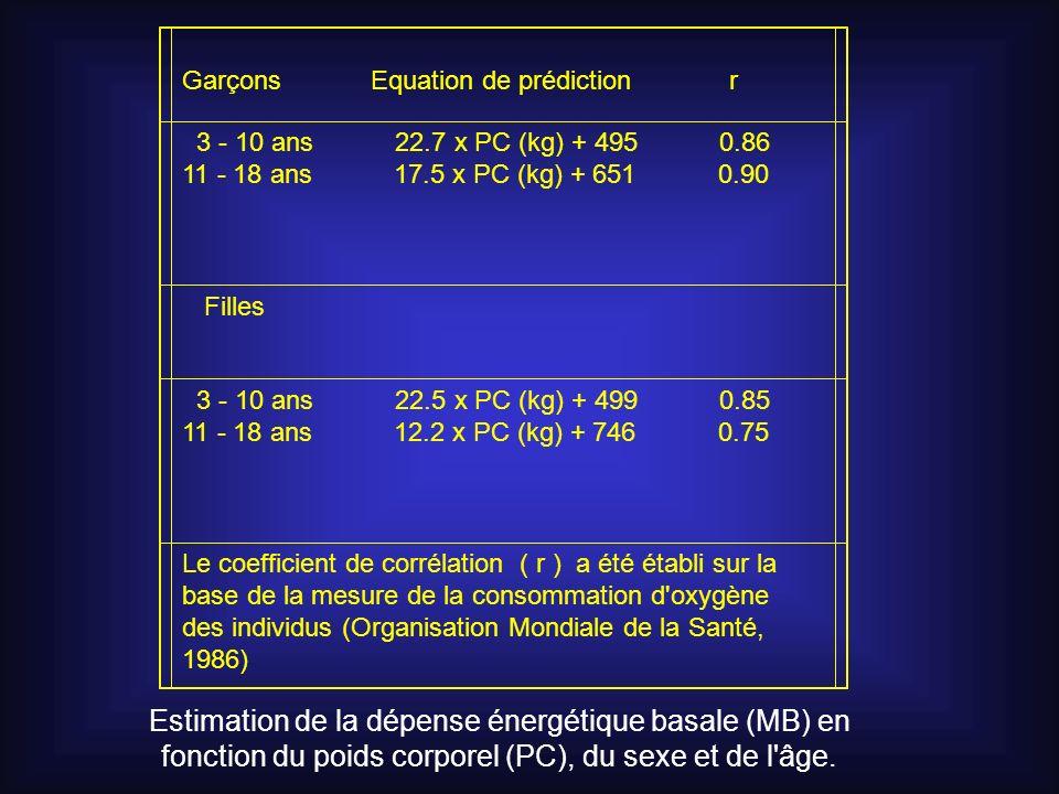 Estimation de la dépense énergétique basale (MB) en