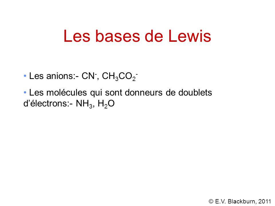 Les bases de Lewis Les anions:- CN-, CH3CO2-