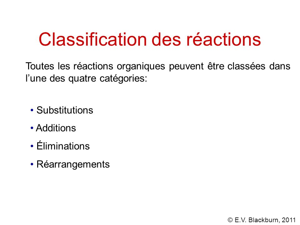Classification des réactions