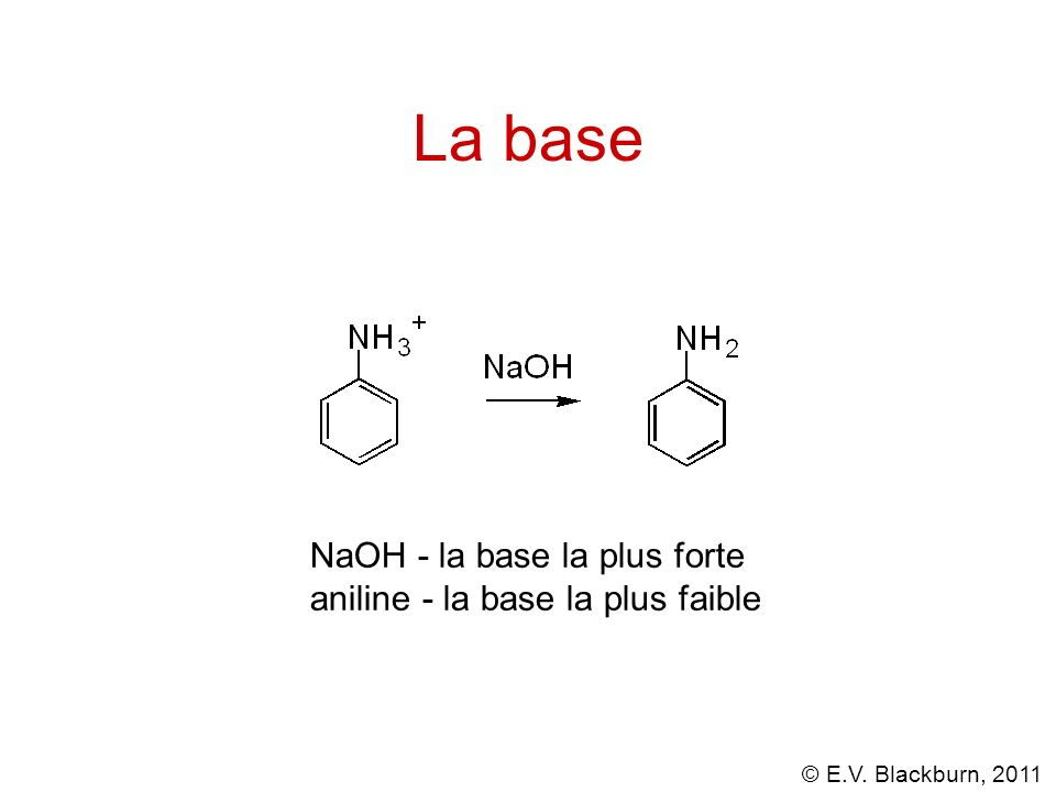 La base NaOH - la base la plus forte aniline - la base la plus faible