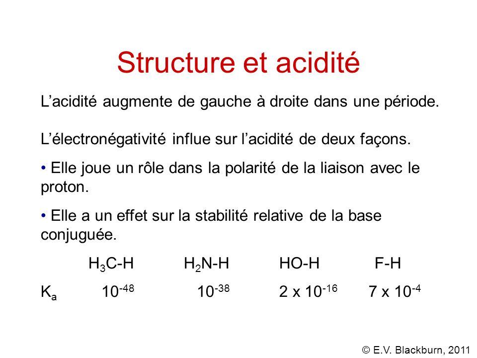Structure et acidité L'acidité augmente de gauche à droite dans une période. L'électronégativité influe sur l'acidité de deux façons.