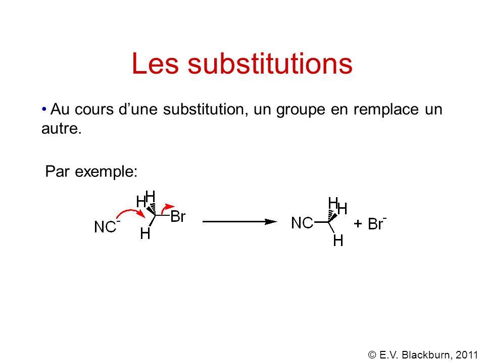 Les substitutions Au cours d'une substitution, un groupe en remplace un autre. Par exemple: