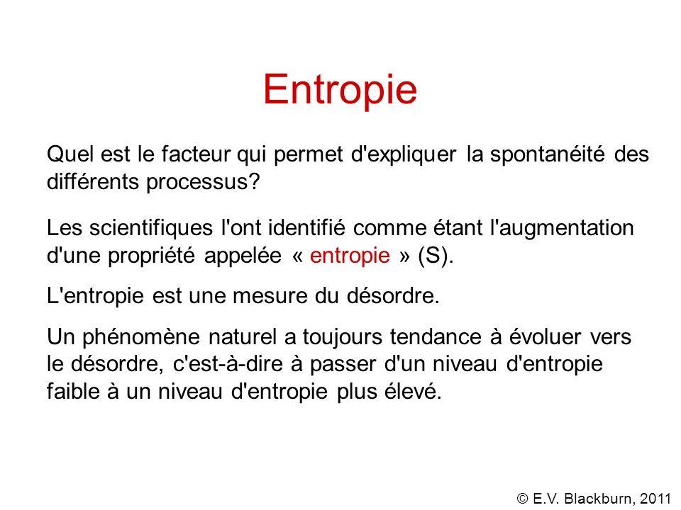 Entropie Quel est le facteur qui permet d expliquer la spontanéité des différents processus