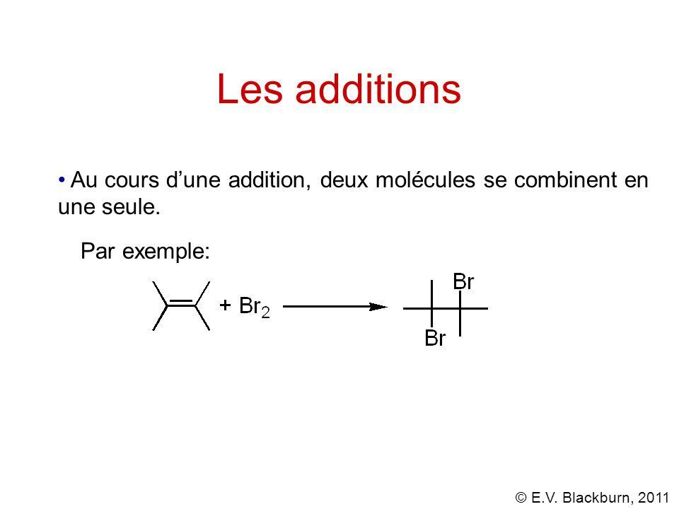 Les additions Au cours d'une addition, deux molécules se combinent en une seule. Par exemple: