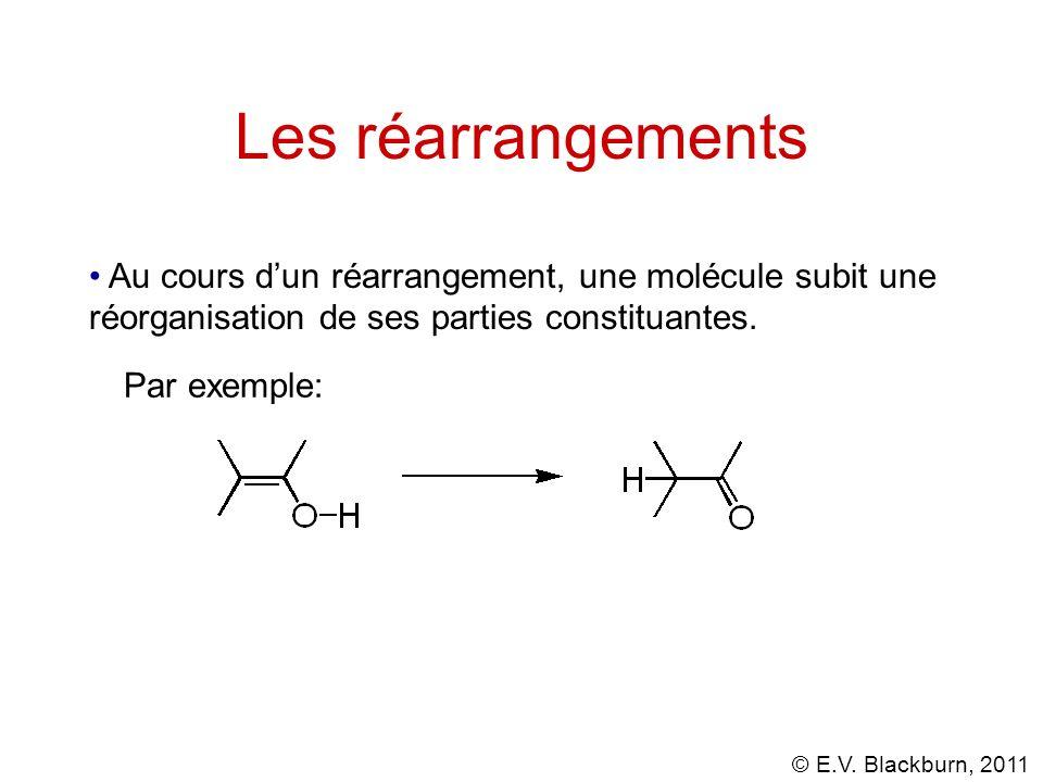 Les réarrangements Au cours d'un réarrangement, une molécule subit une réorganisation de ses parties constituantes.