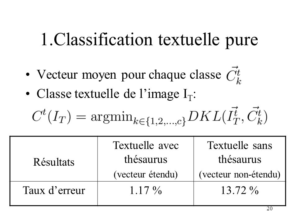 1.Classification textuelle pure