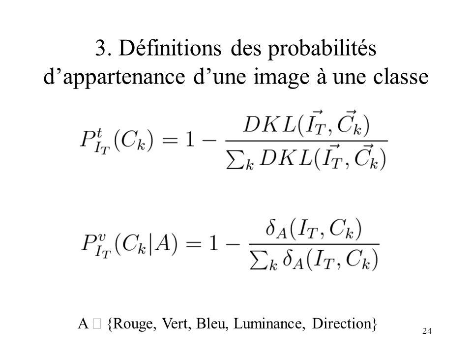 3. Définitions des probabilités d'appartenance d'une image à une classe