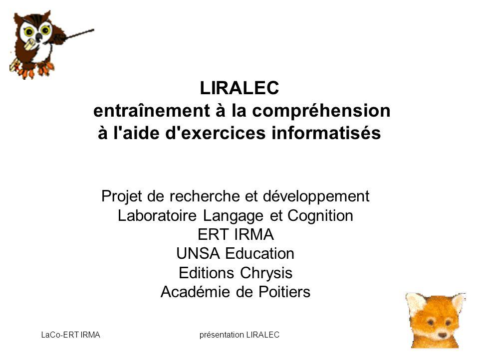LIRALEC entraînement à la compréhension à l aide d exercices informatisés