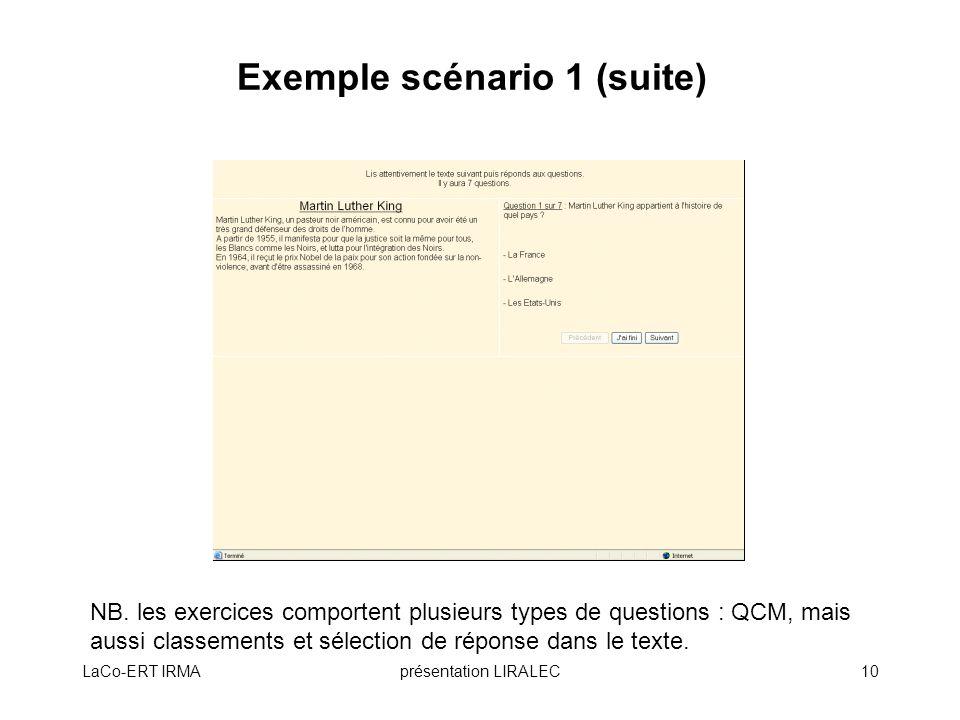 Exemple scénario 1 (suite)