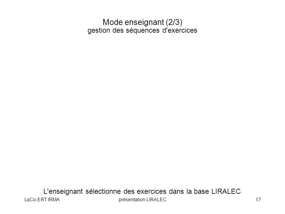 Mode enseignant (2/3) gestion des séquences d exercices