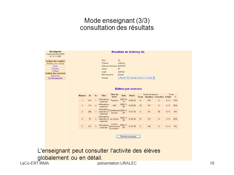 Mode enseignant (3/3) consultation des résultats