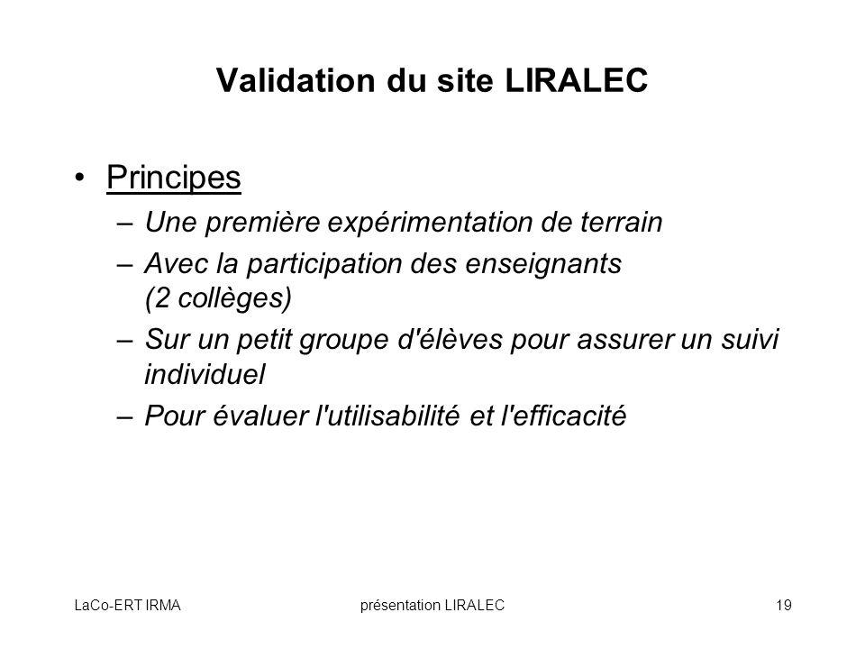 Validation du site LIRALEC