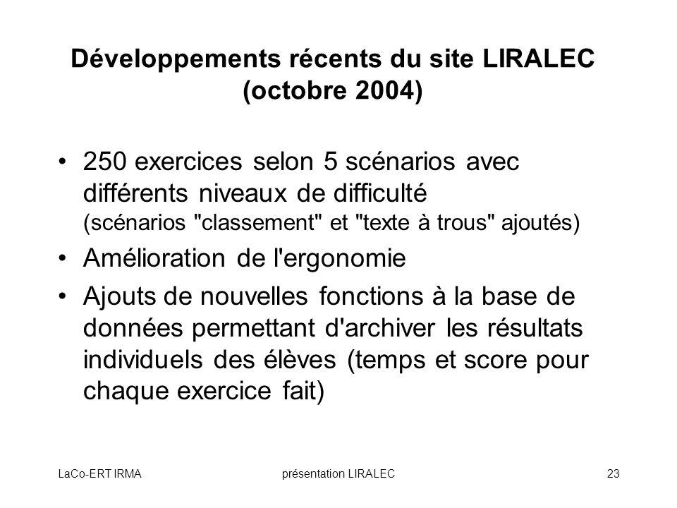 Développements récents du site LIRALEC (octobre 2004)