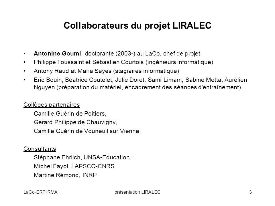 Collaborateurs du projet LIRALEC