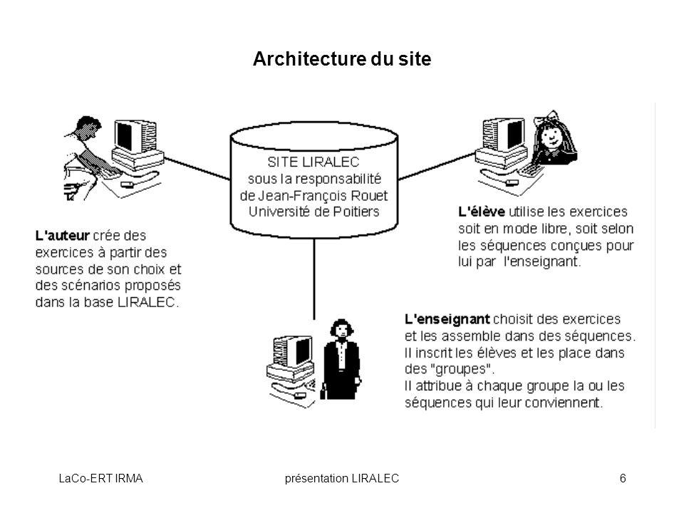 Architecture du site LaCo-ERT IRMA présentation LIRALEC