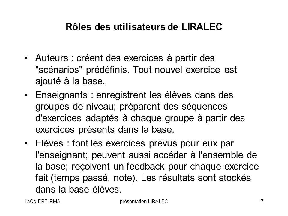 Rôles des utilisateurs de LIRALEC