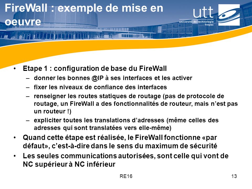 FireWall : exemple de mise en oeuvre