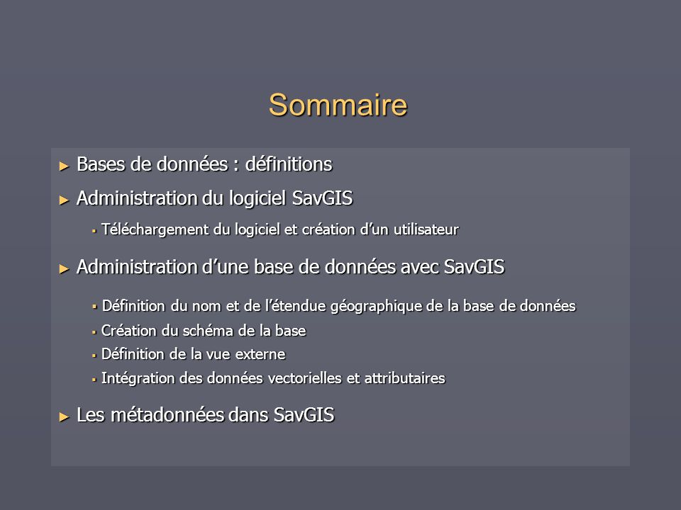 Sommaire Bases de données : définitions