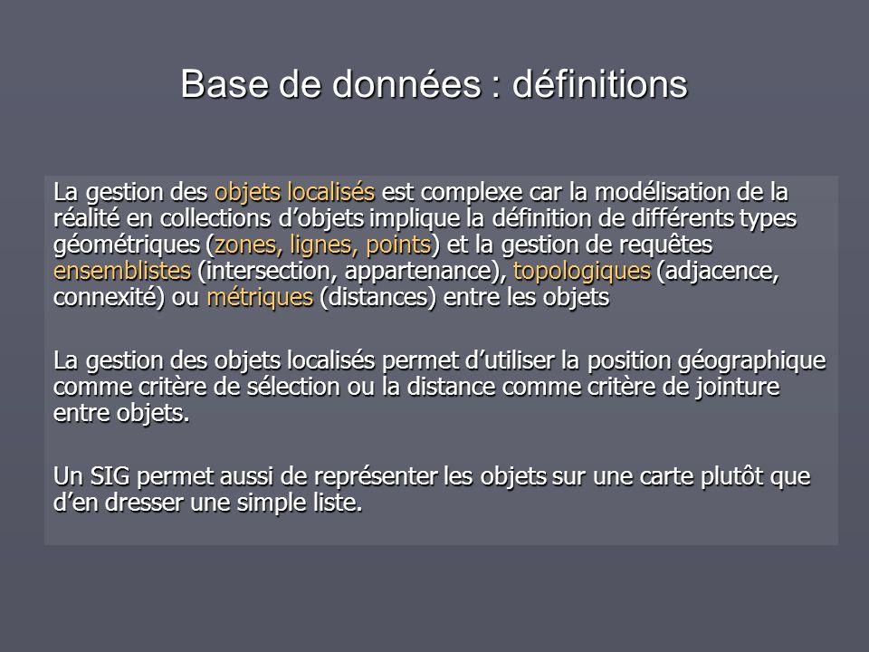 Base de données : définitions