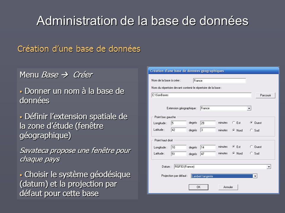 Administration de la base de données