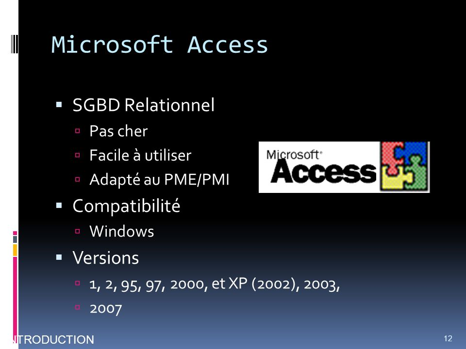 Microsoft Access SGBD Relationnel Compatibilité Versions Pas cher