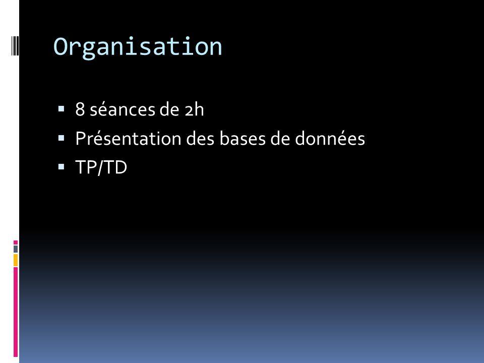 Organisation 8 séances de 2h Présentation des bases de données TP/TD