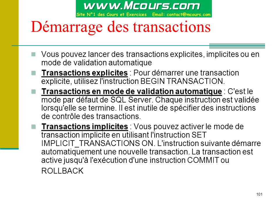 Démarrage des transactions