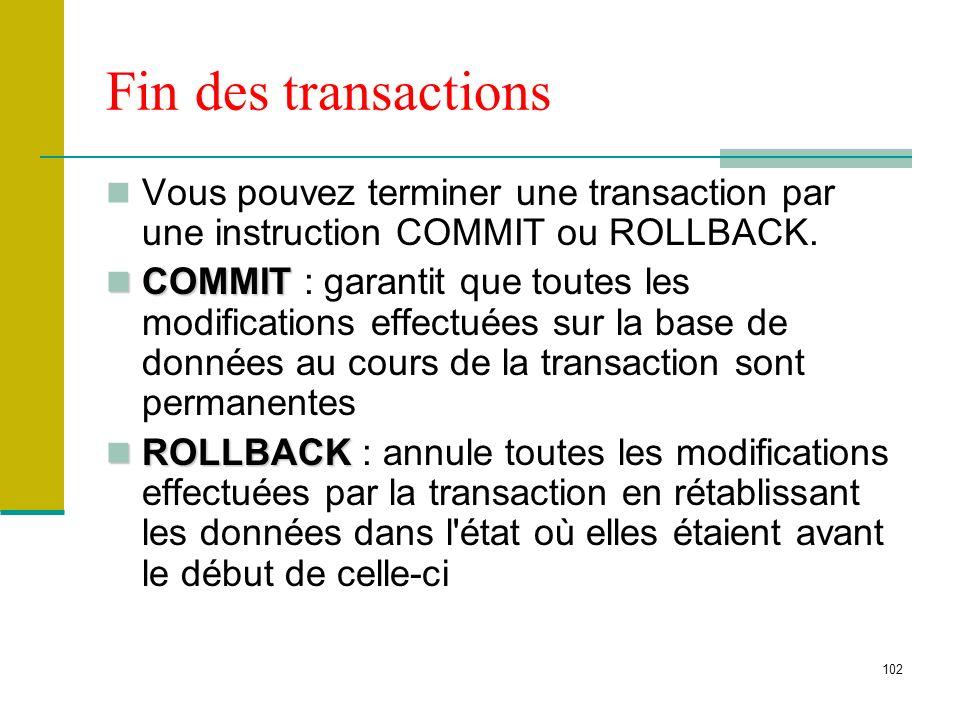 Fin des transactions Vous pouvez terminer une transaction par une instruction COMMIT ou ROLLBACK.
