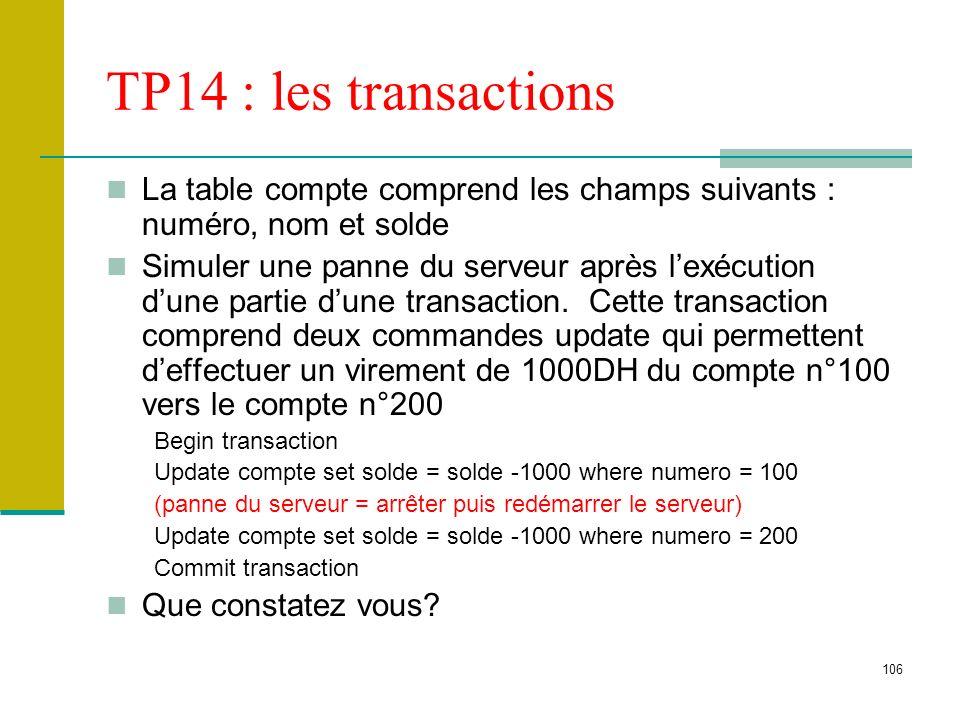 TP14 : les transactions La table compte comprend les champs suivants : numéro, nom et solde.