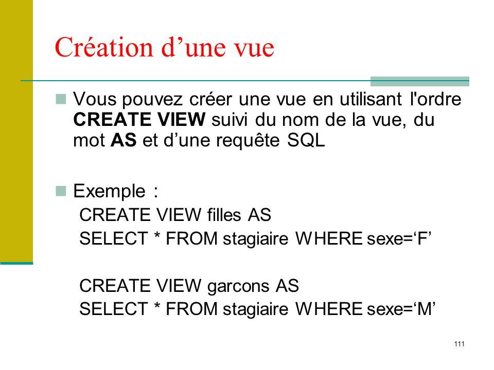 Création d'une vue Vous pouvez créer une vue en utilisant l ordre CREATE VIEW suivi du nom de la vue, du mot AS et d'une requête SQL.