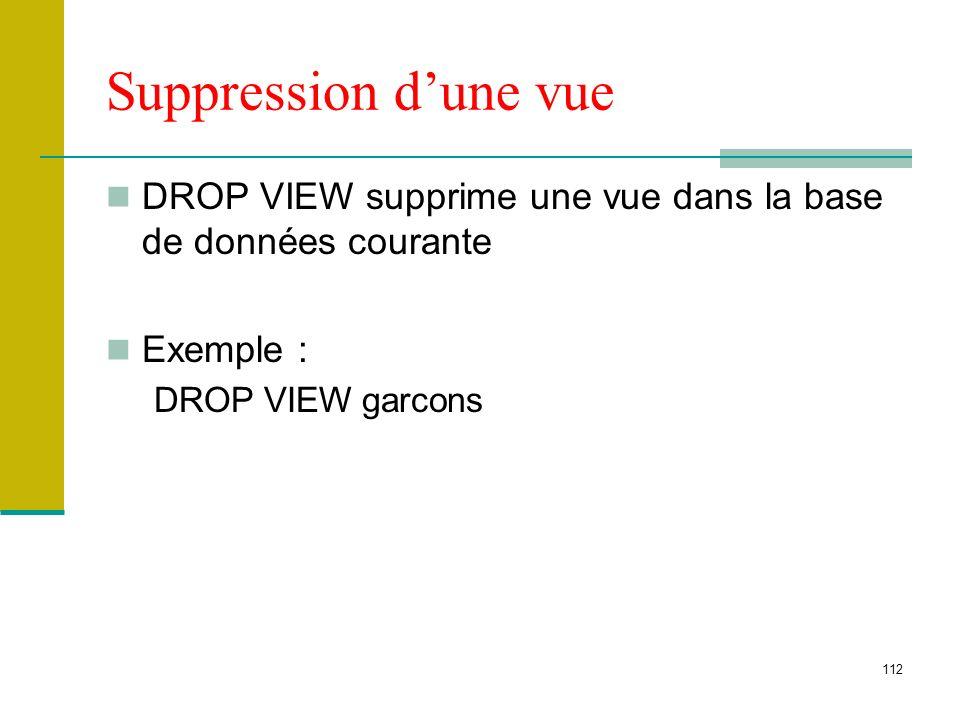 Suppression d'une vue DROP VIEW supprime une vue dans la base de données courante.