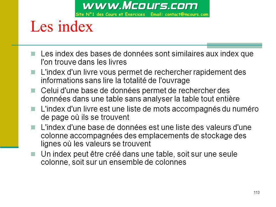 Les index Les index des bases de données sont similaires aux index que l on trouve dans les livres.