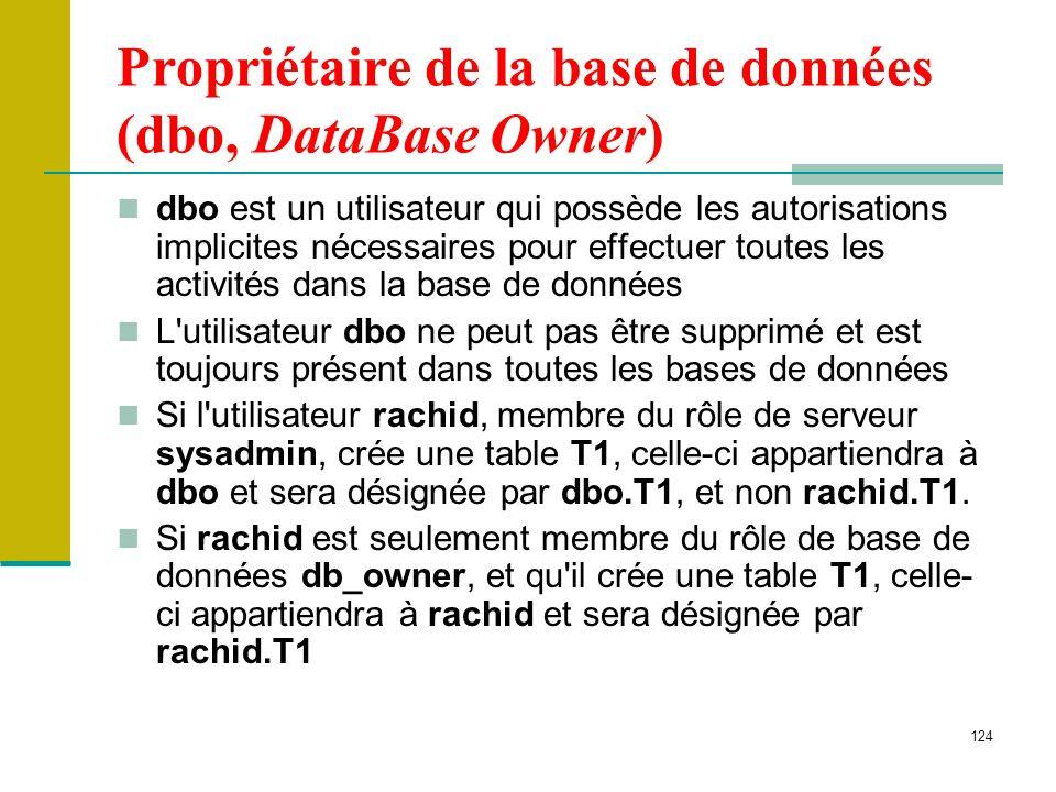 Propriétaire de la base de données (dbo, DataBase Owner)