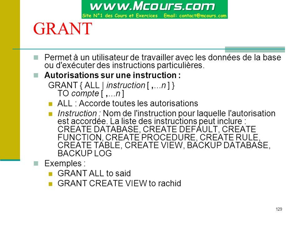 GRANT Permet à un utilisateur de travailler avec les données de la base ou d exécuter des instructions particulières.