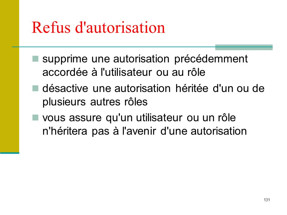 Refus d autorisation supprime une autorisation précédemment accordée à l utilisateur ou au rôle.