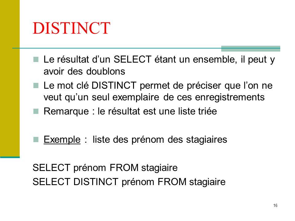 DISTINCT Le résultat d'un SELECT étant un ensemble, il peut y avoir des doublons.