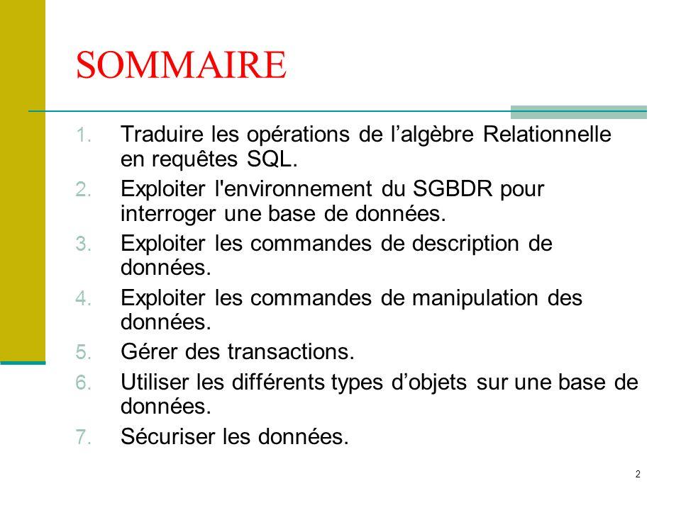 SOMMAIRE Traduire les opérations de l'algèbre Relationnelle en requêtes SQL. Exploiter l environnement du SGBDR pour interroger une base de données.