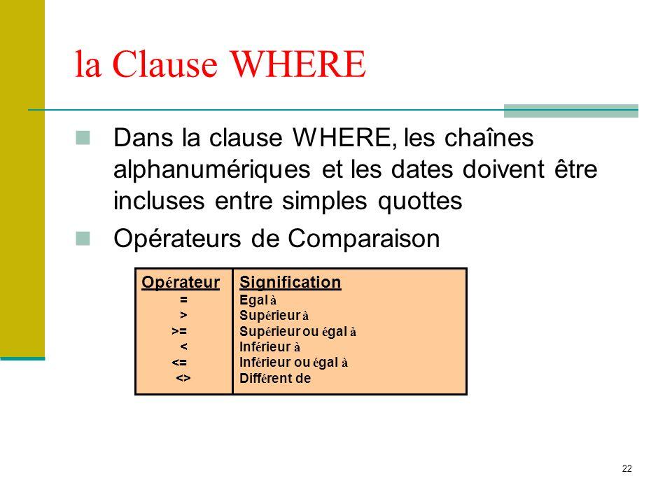la Clause WHERE Dans la clause WHERE, les chaînes alphanumériques et les dates doivent être incluses entre simples quottes.