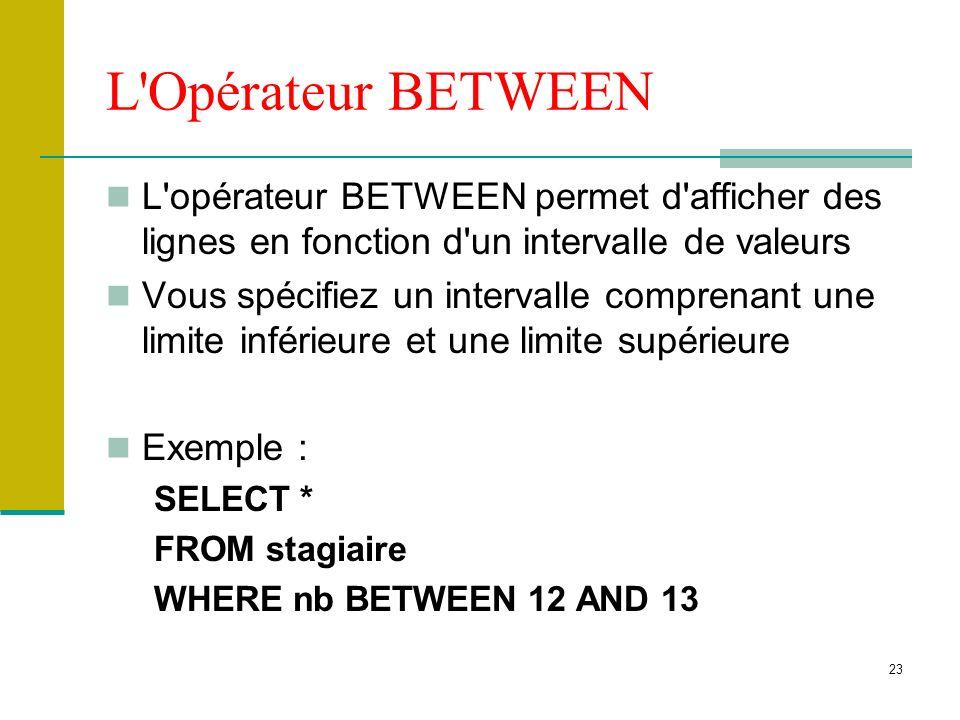 L Opérateur BETWEEN L opérateur BETWEEN permet d afficher des lignes en fonction d un intervalle de valeurs.