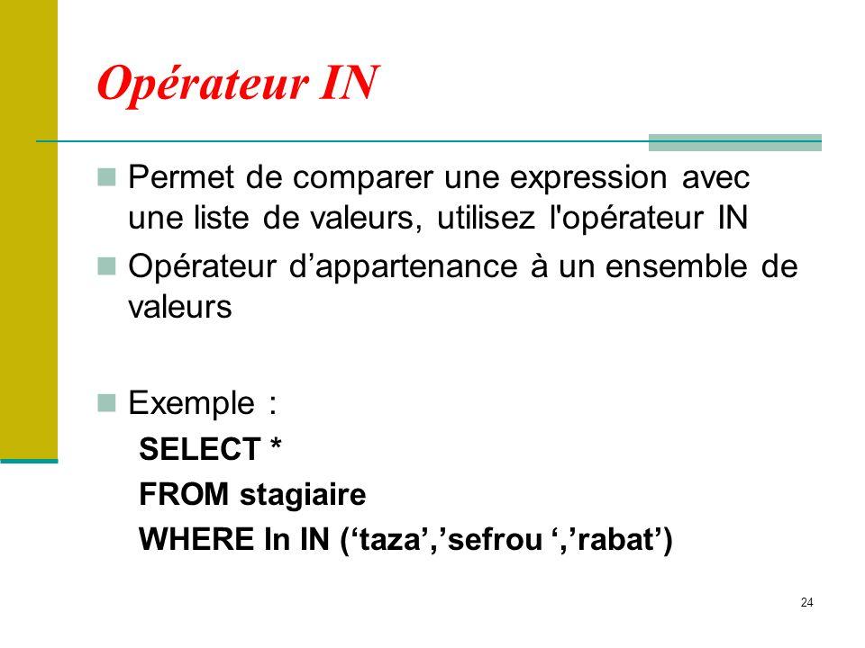 Opérateur IN Permet de comparer une expression avec une liste de valeurs, utilisez l opérateur IN. Opérateur d'appartenance à un ensemble de valeurs.