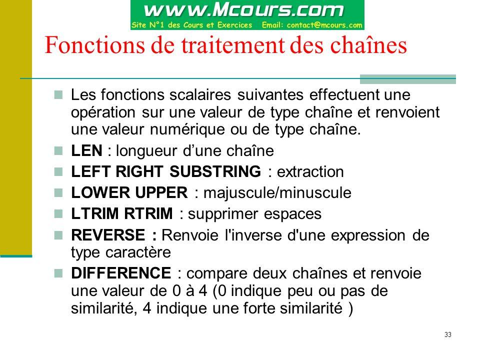 Fonctions de traitement des chaînes