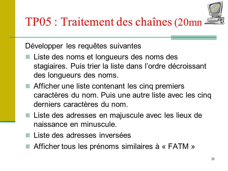 TP05 : Traitement des chaînes (20mn)