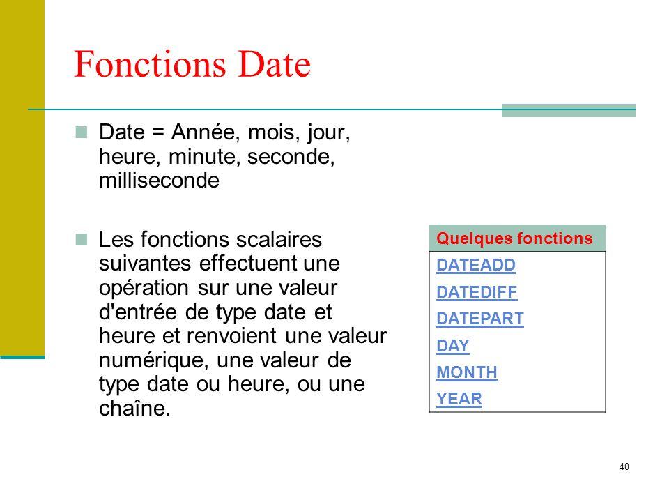 Fonctions Date Date = Année, mois, jour, heure, minute, seconde, milliseconde.