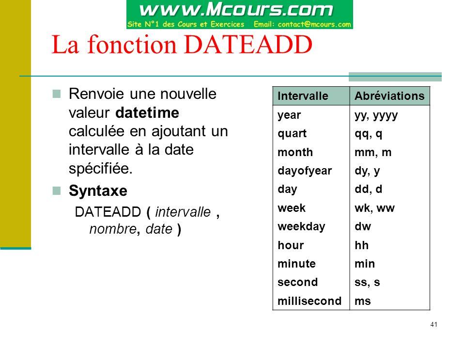 La fonction DATEADD Renvoie une nouvelle valeur datetime calculée en ajoutant un intervalle à la date spécifiée.