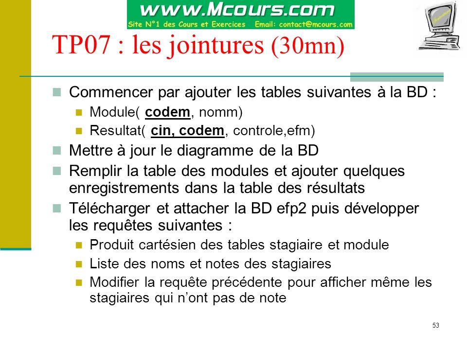 TP07 : les jointures (30mn) Commencer par ajouter les tables suivantes à la BD : Module( codem, nomm)
