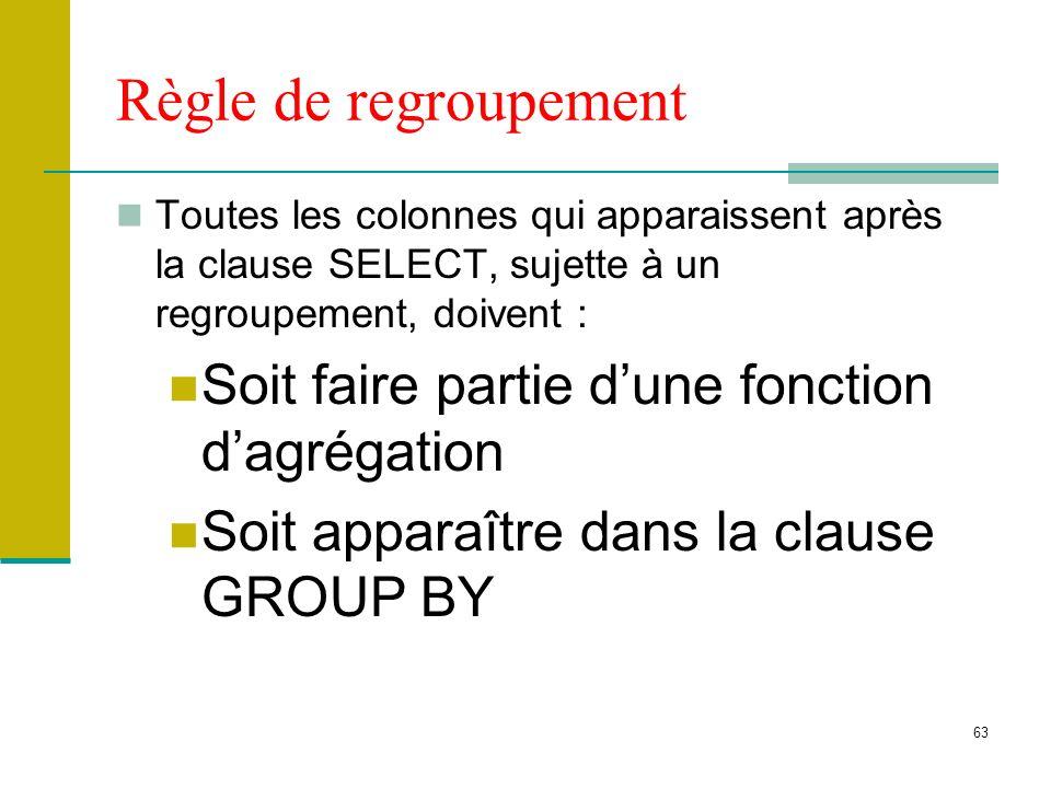 Règle de regroupement Soit faire partie d'une fonction d'agrégation