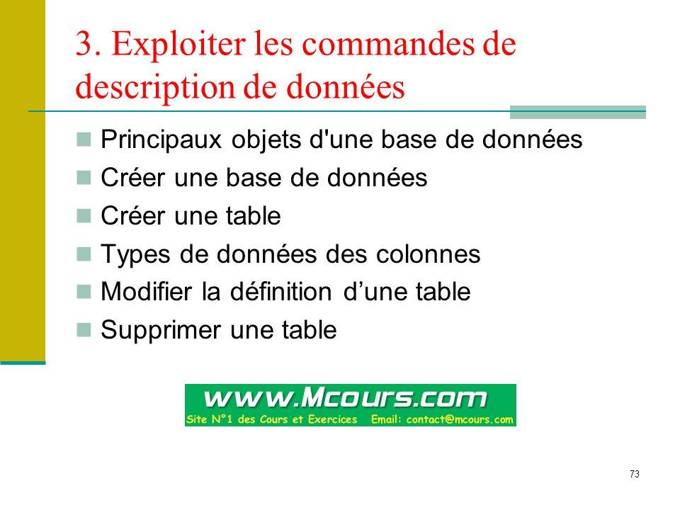 3. Exploiter les commandes de description de données