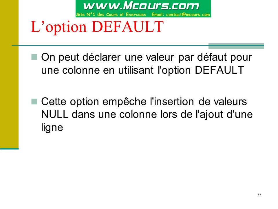 L'option DEFAULT On peut déclarer une valeur par défaut pour une colonne en utilisant l option DEFAULT.