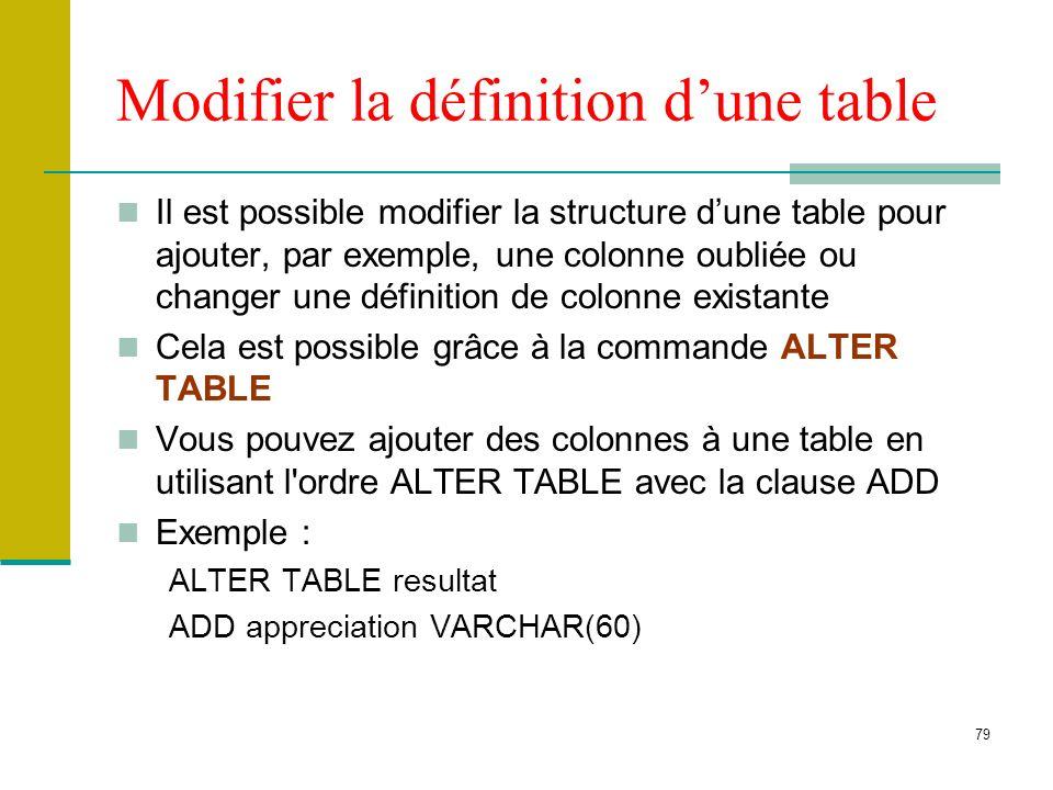 Modifier la définition d'une table