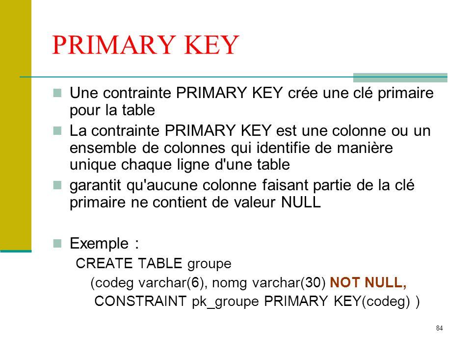 PRIMARY KEY Une contrainte PRIMARY KEY crée une clé primaire pour la table.